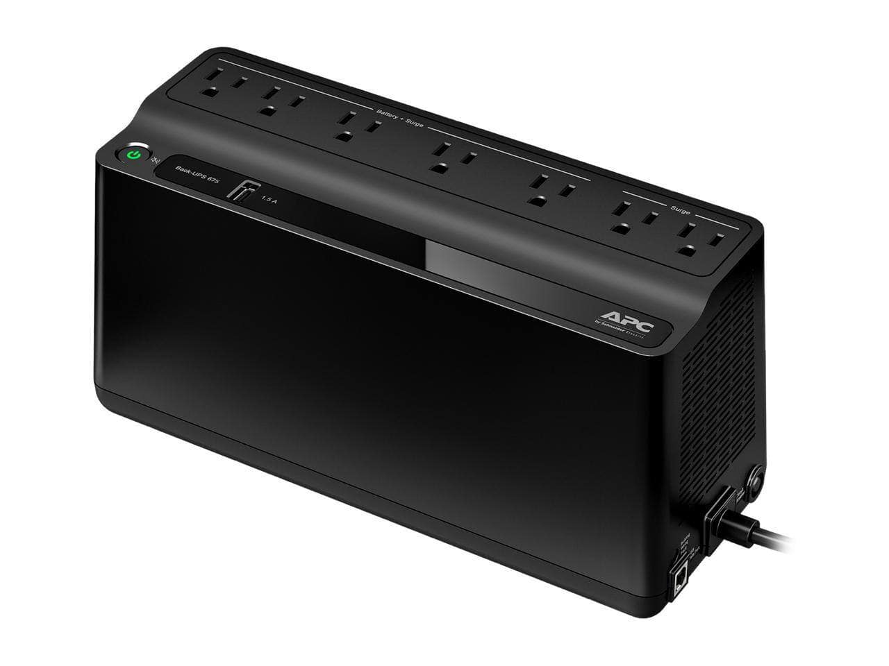 APC BE670M1 675 VA 360 Watts 7 Outlets Uninterruptible Power Supply (UPS) with USB Charging Port for $54.99 + Free Shipping