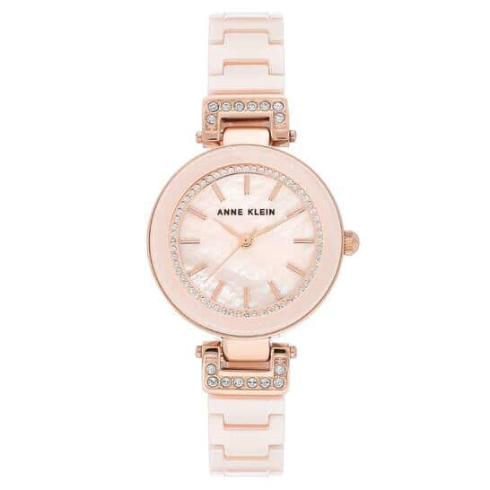ANNE KLEIN Light Pink Mother of Pearl Dial Ladies Watch AK/3480RGLP for $39.99 Shipped
