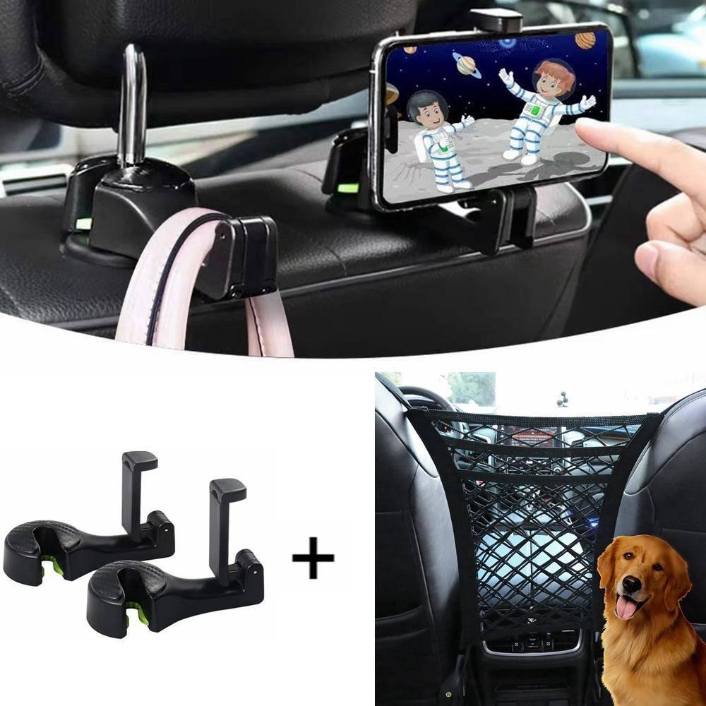 2 Pack Multifunctional Car Back Seat Phone Holder/Hanger+ 3-Layer Car Mesh Organizer Set for $9.99 + Free Shipping