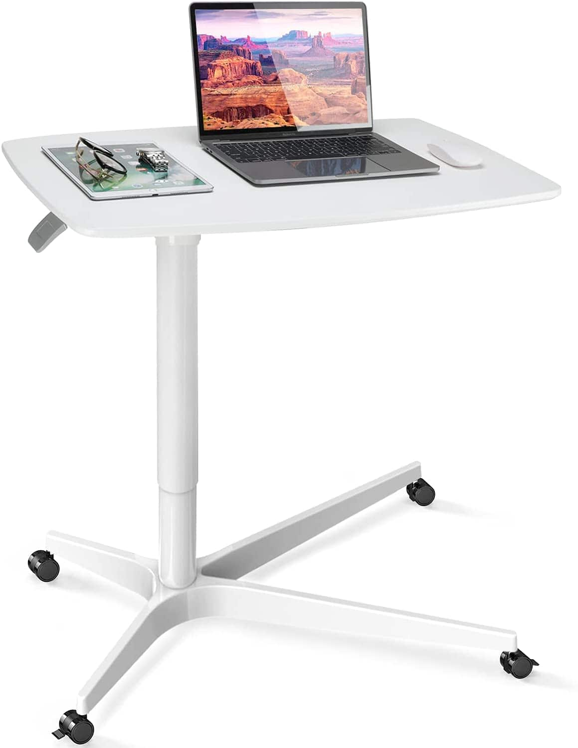 Huanuo Mobile Standing Desk (Height Adjustable Sit to Stand) 30 inches w/ Gas Spring Riser for $93.47 + Free Shipping w/ Prime or $25+