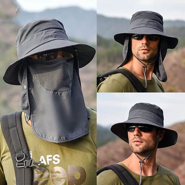 2x Unisex Outdoor Bucket Sun Hats with Neck and Face Cover for $15.3 (9 Colors) + Free Shipping