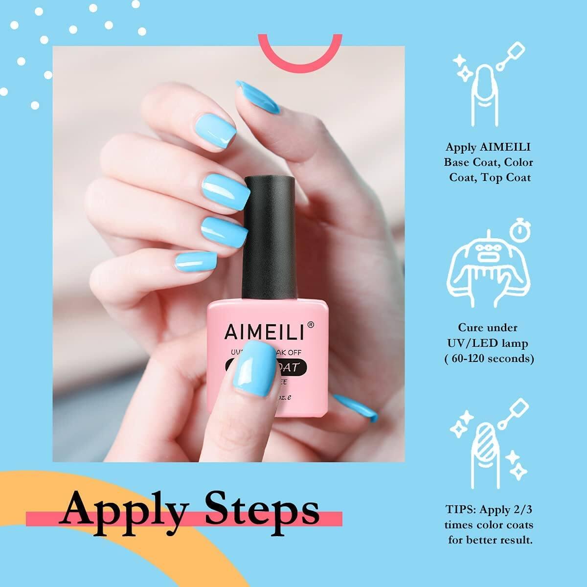 AIMEILI Gel Nail Polish No Wipe Top and Base Coat Set - 2 x 15ml - $4.99 + Free Shipping w/ Amazon Prime or Orders $25+