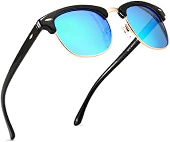 Sungait Classic Half Frame Retro Sunglasses (black blue and black green) for $7 + Free shipping w/ Prime or $25+