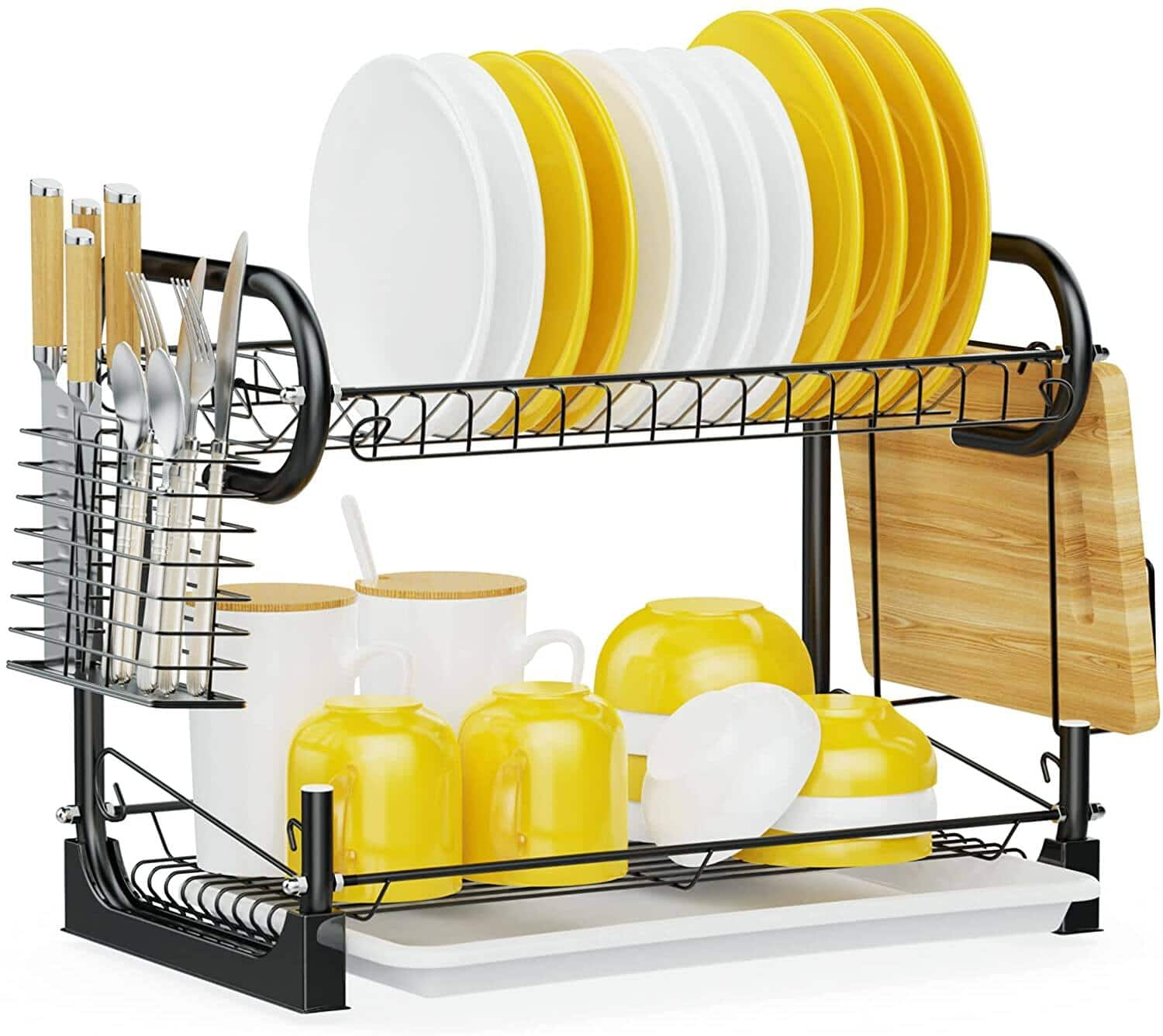 iSPECLE 2 Tier Dish Rack with Utensil Holder $18.89