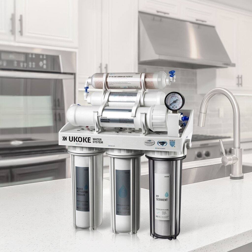 Ukoke RO8-L 6 Stage Reverse Osmosis Water Filtration System, 75 GPD for $129 + free shipping