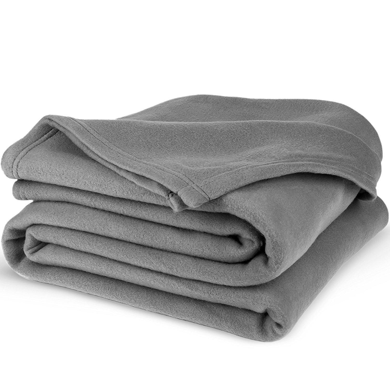 """Equinox Polar Fleece Blanket 90"""" x 90"""" - Dove Grey for $9.97 + FS w/Prime"""