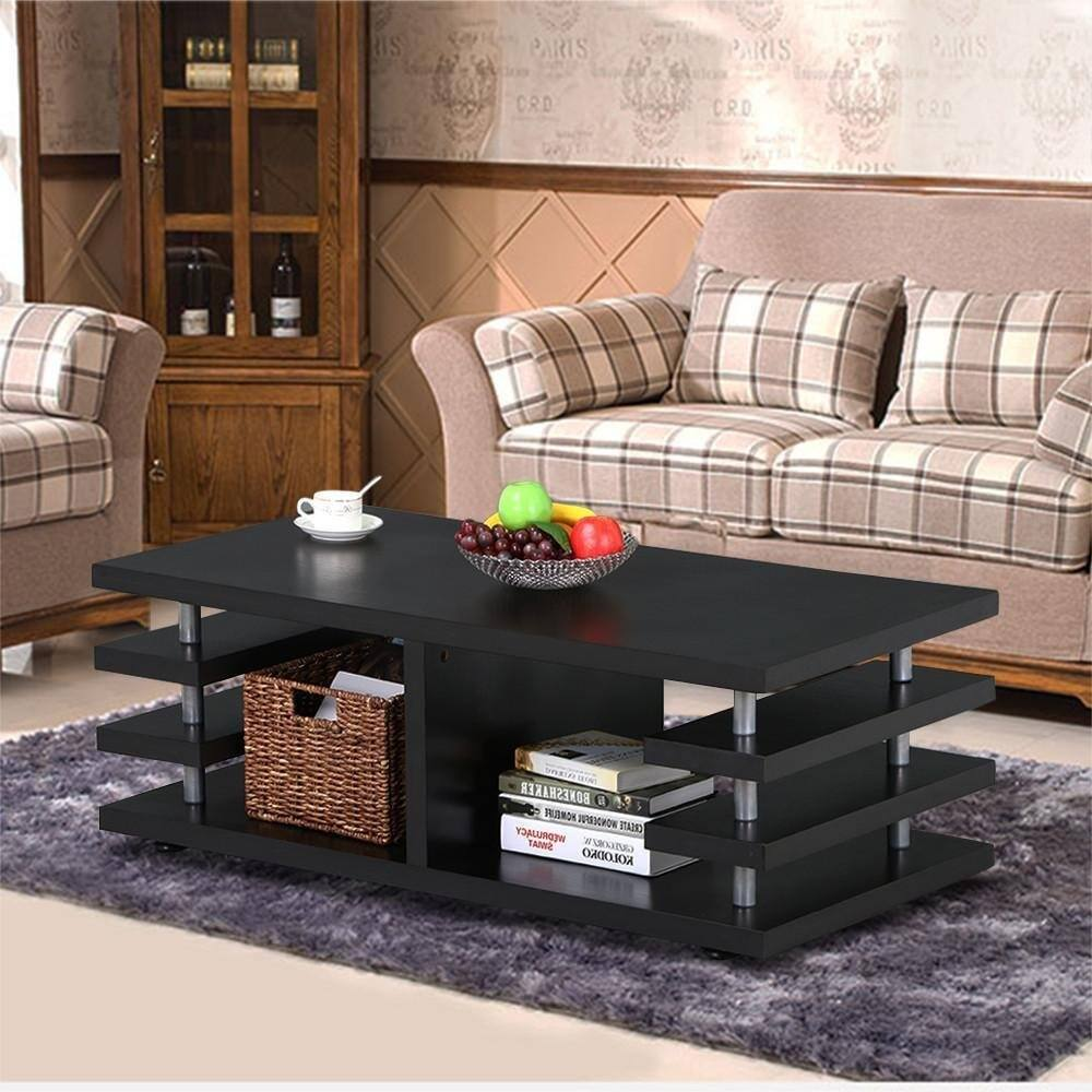 Modern Black Wood Coffee Table with Storage Shelf -$52.19 + Free Shipping