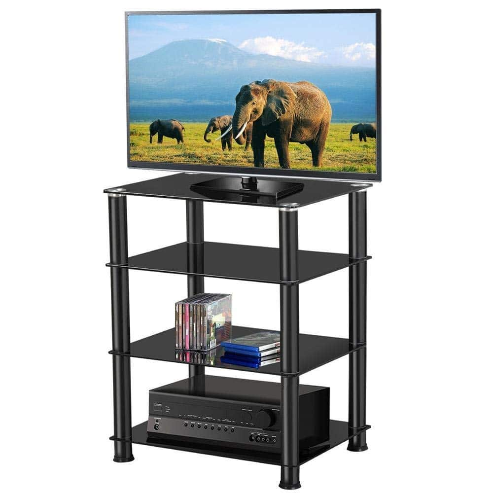 4 Tier Black Glass Component Media Stand Audio Video Rack -$35.99 + Free Shipping