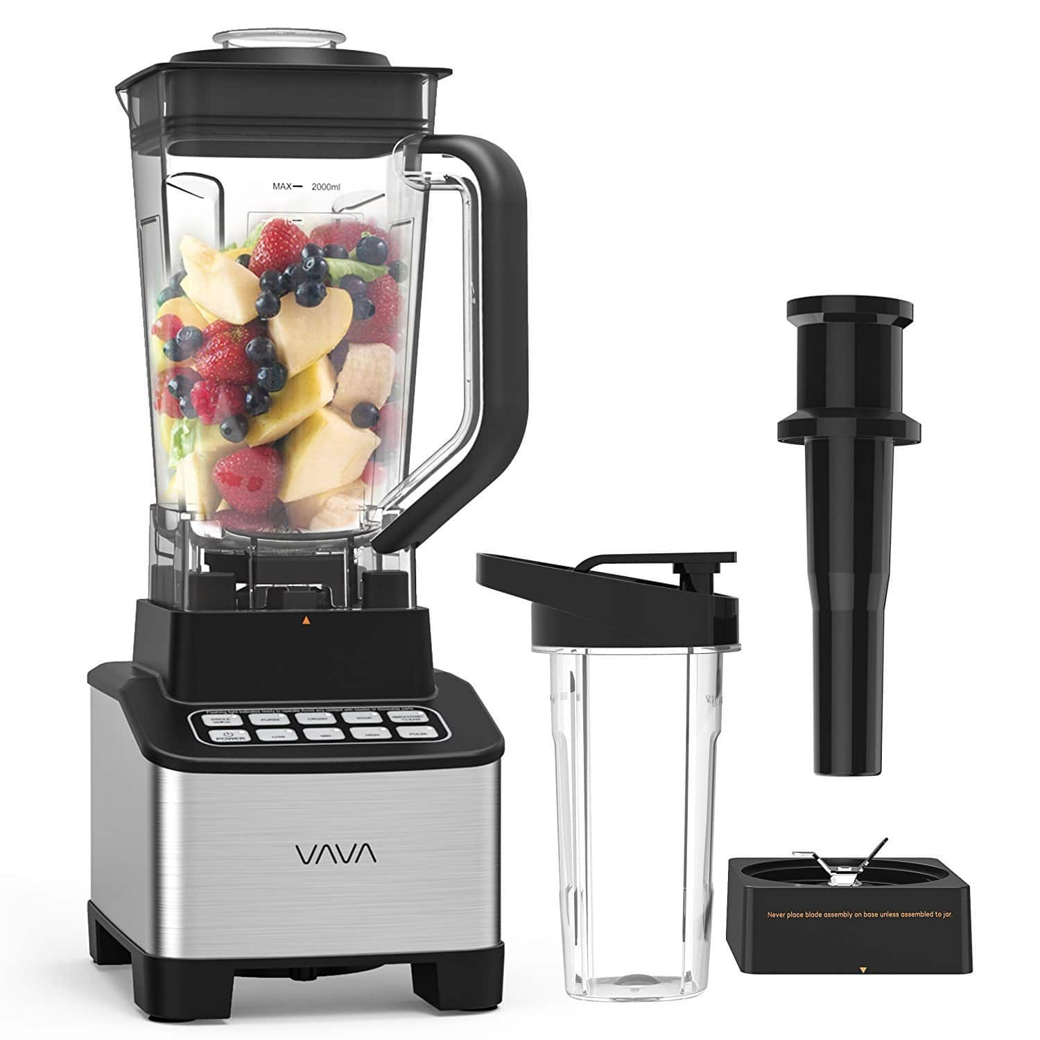 VAVA Smoothie Blender, 1200W Professional Blender for Shakes and Smoothies with 68oz Jar & Personal 20oz Blender Bottle, BPA Free, High Speed - $47.99 AC + FS