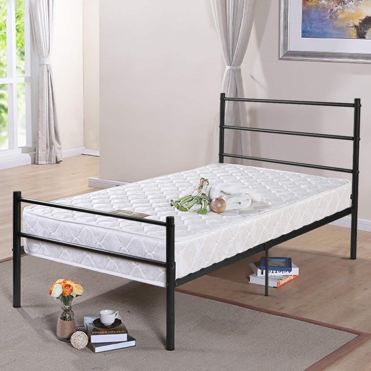 Costway Twin Size Metal Bed Frame Base 6 Legs $45.95 + Free Shipping