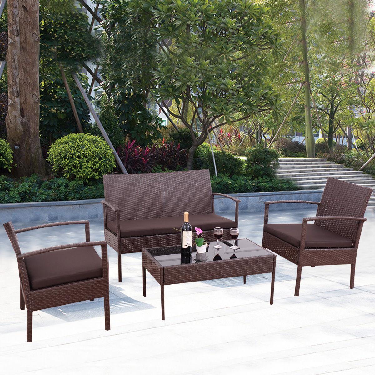 4Pc Patio Rattan Wicker Furniture Set: $120 AC + Free Shipping $119.99