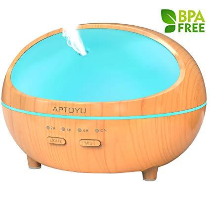 Aptoyu 300ml Essential Oil Wood Grain Diffuser w/ 7 Color Changing LED Lights $9.90 + FS w/ Prime