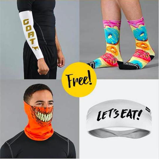 Free Accessory - Headband, Facemask, Socks or Arm Sleeve + $6 S/H
