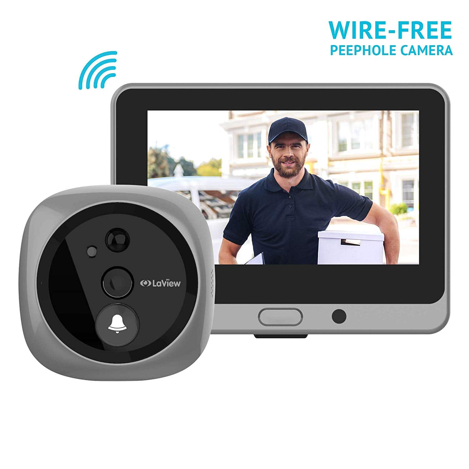 LaView Wire-free Video Doorbell Peephole Camera with Touch Screen Monitor, Rechargeable Battery/Night Vision/Two-Way Audio/Mobile View $144.49 + FS