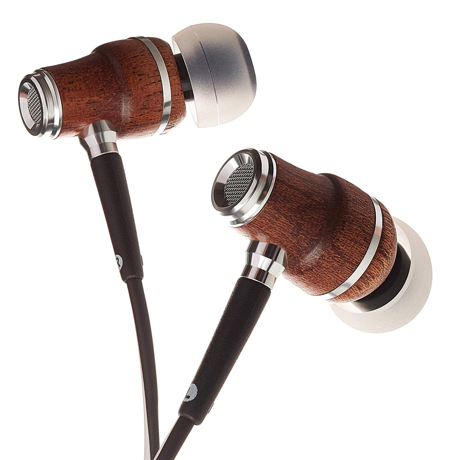 fd68338e1dec25 Symphonized NRG X Wood In Ear Noise Isolating Earbuds with Angle Fit Ear  Tips, Mic and Volume (Black/White) for $11.49 + FREE SHIPPING with PRIME