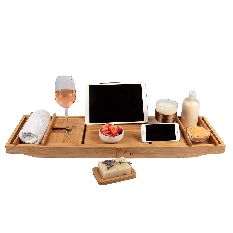 f8ec3cedbb8ae Luxury Bamboo Bathtub Caddy Tray - $16.50 + FS - Slickdeals.net