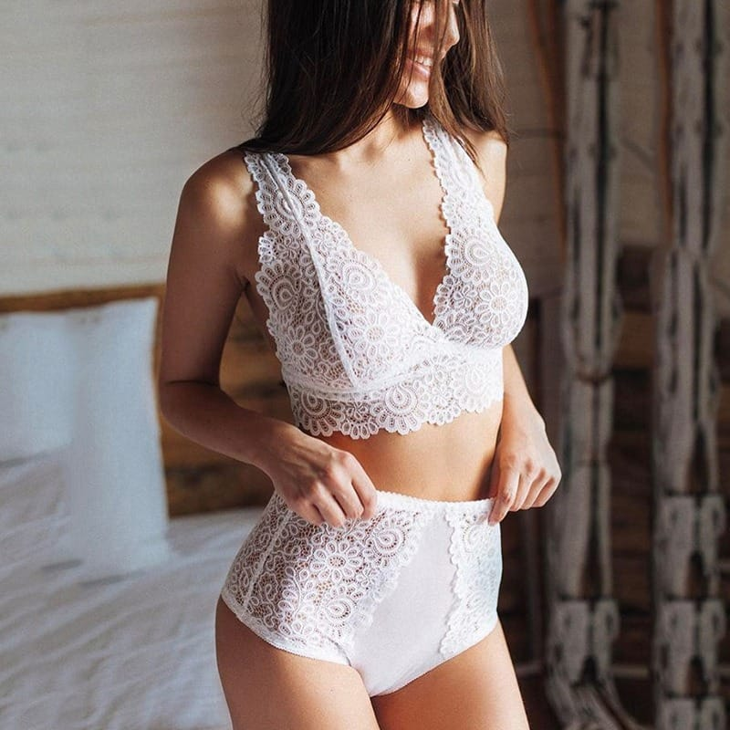 60% OFF White Floral Lace Lingerie Set $6.80 + Free Shipping