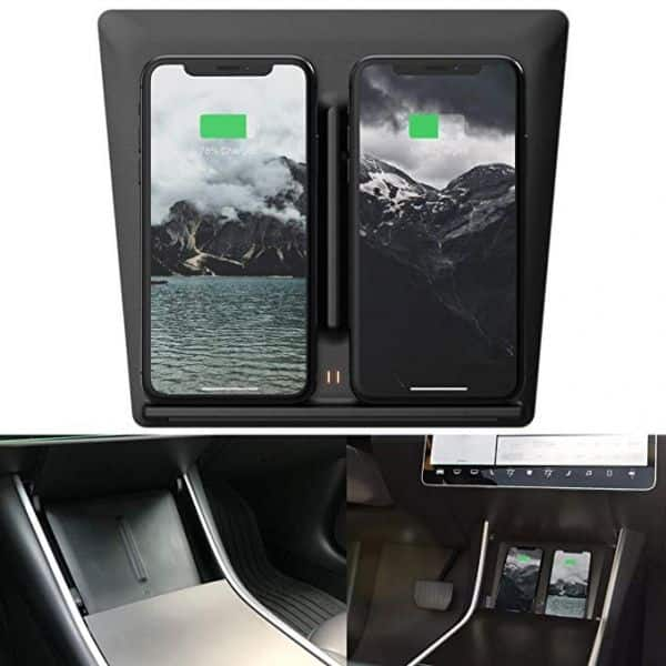 Tesla Model 3 Dual Qi Center Console Wireless Phone Charger Dock with USB Splitter $32.99 + Free Shipping