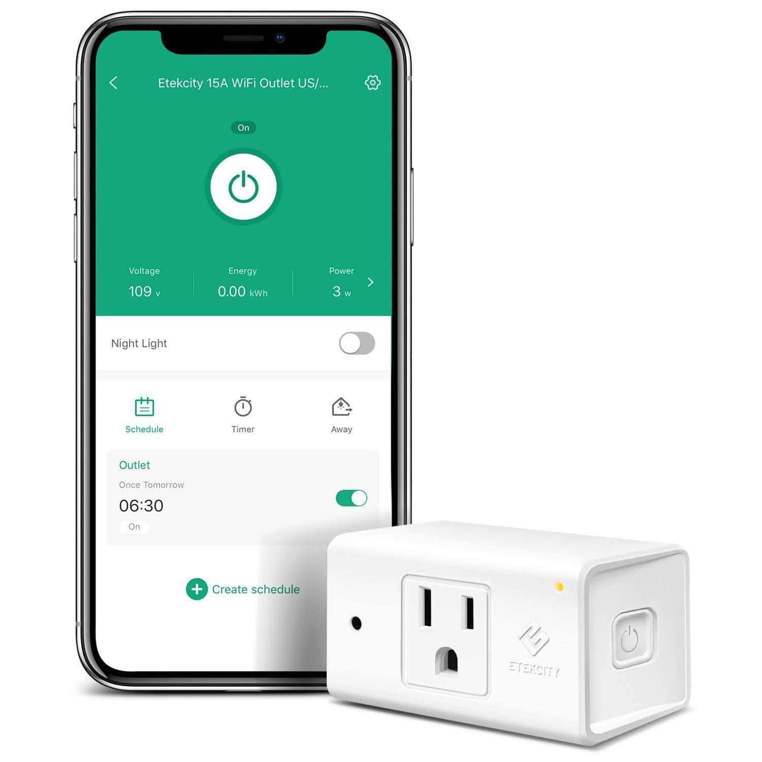 Etekcity WiFi Smart Plug Mini Outlet with Automatic Night Light