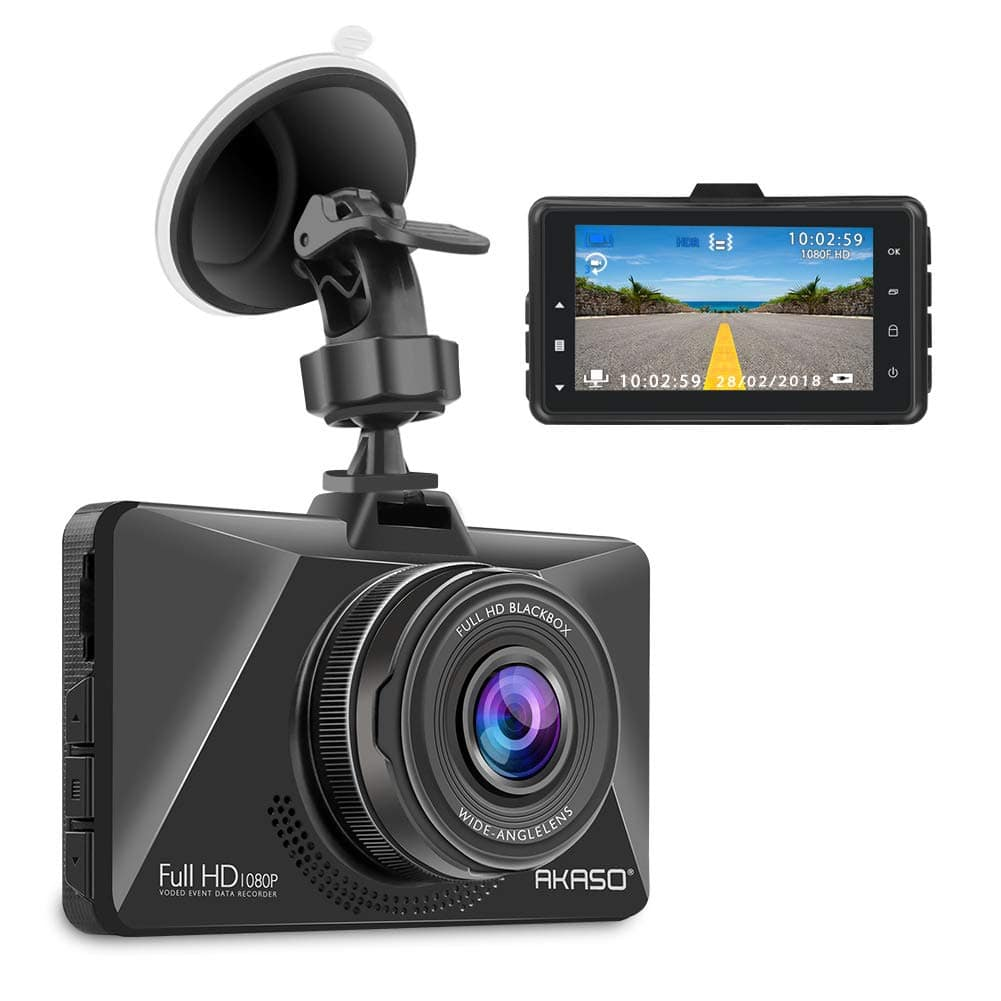 """AKASO Dash Cam with 1080P Full HD 3"""" LCD Screen and Night Vision - $21.99 + free shipping"""