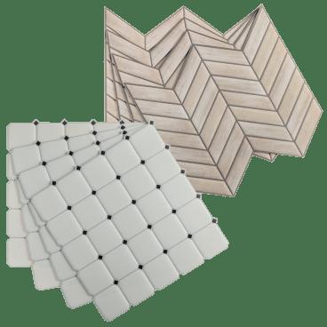 "32-Pack RoomMates Peel & Stick Wall and Backsplash Tiles: Black & White Diamond/ Wood Chevron (10.5"" x 10.5"") - $19 shipped"