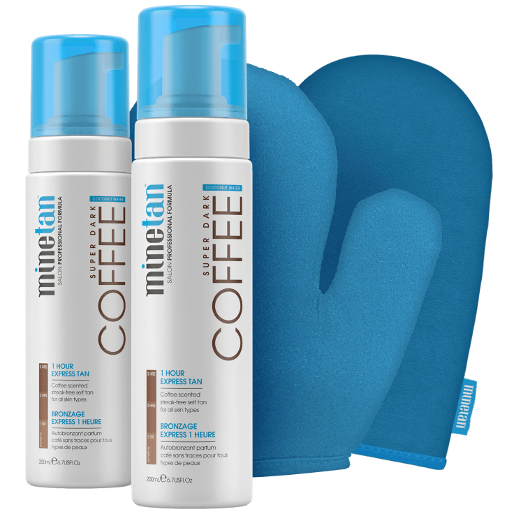 MineTan Coffee Coconut Duo Self Tan Set with Exfoliating and Application Mitt for $20 Shipped