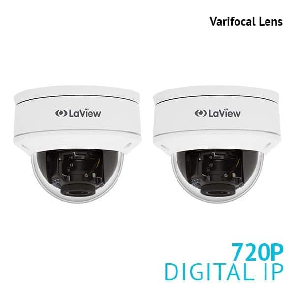 2-Pack LaView 1.3MP 2.8mm-12mm Varifocal Dome Outdoor PoE IP Surveillance Cameras $49.99 + Free Shipping