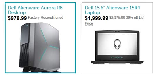 Dell Alienware Aurora R8 (Factory Reconditioned - $979.99) and 15R4 Laptop (New -$1,999.99) + FS for Prime Members