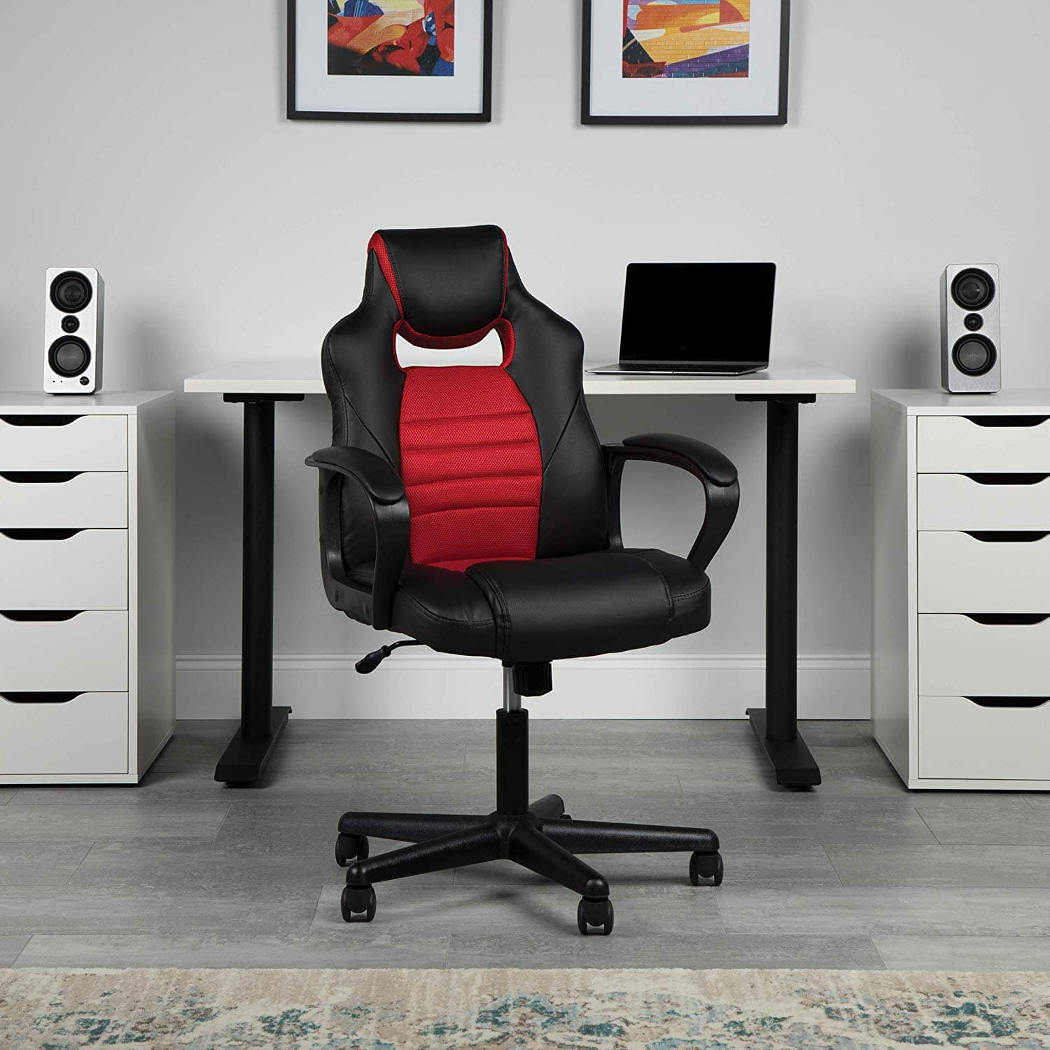 Essentials Gaming Chair - Racing Style Ergonomic Mesh and Leather Computer Chair, Red (ESS-3083-RED) $53.99 + FS