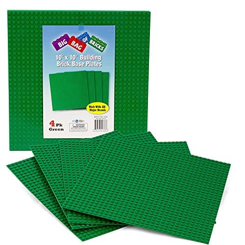 """Brick Building Green Base Plates - Large 10""""x10"""" (4 Pack) - Tight Fit with all major brick sets $7.47 + Free Shipping"""