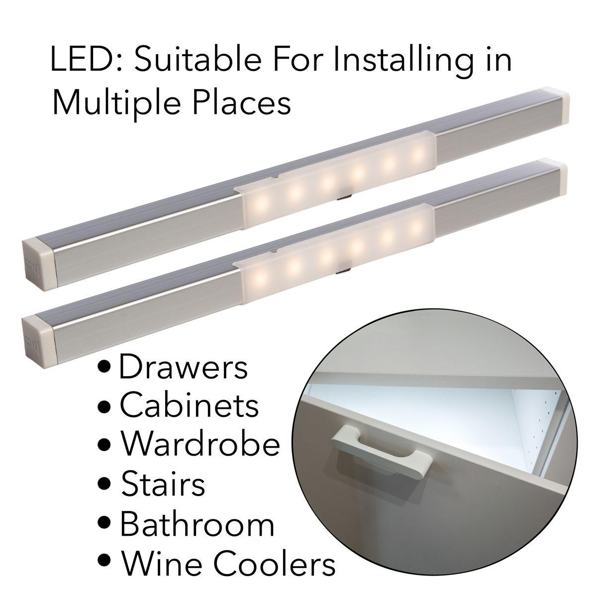 2-Pack Motion Sensor LED Drawer & Cabinet Lights