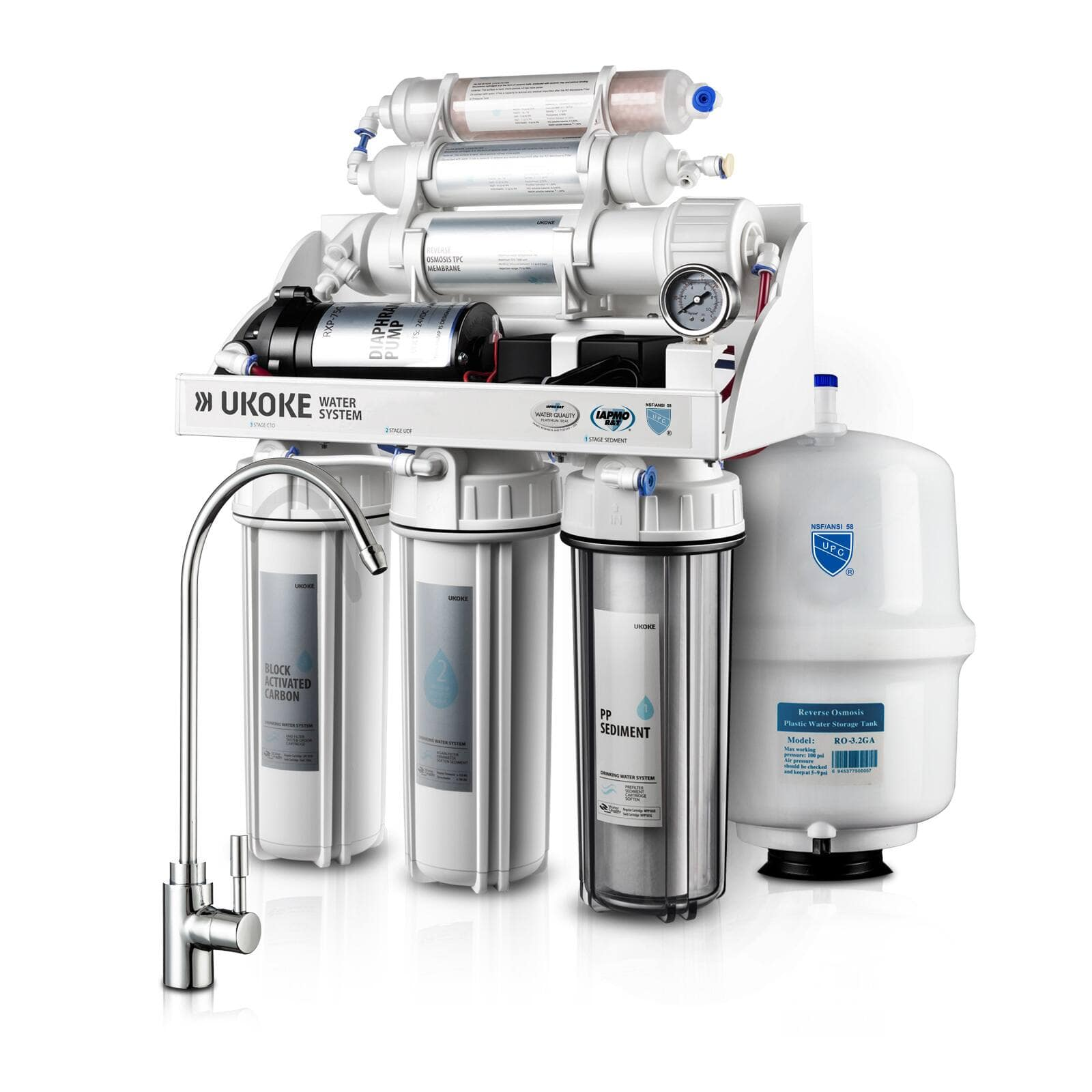38% off Ukoke 6 Stages Reverse Osmosis, Water Filtration System, 75 GPD w/ Pump for $154.88 + Free Shipping