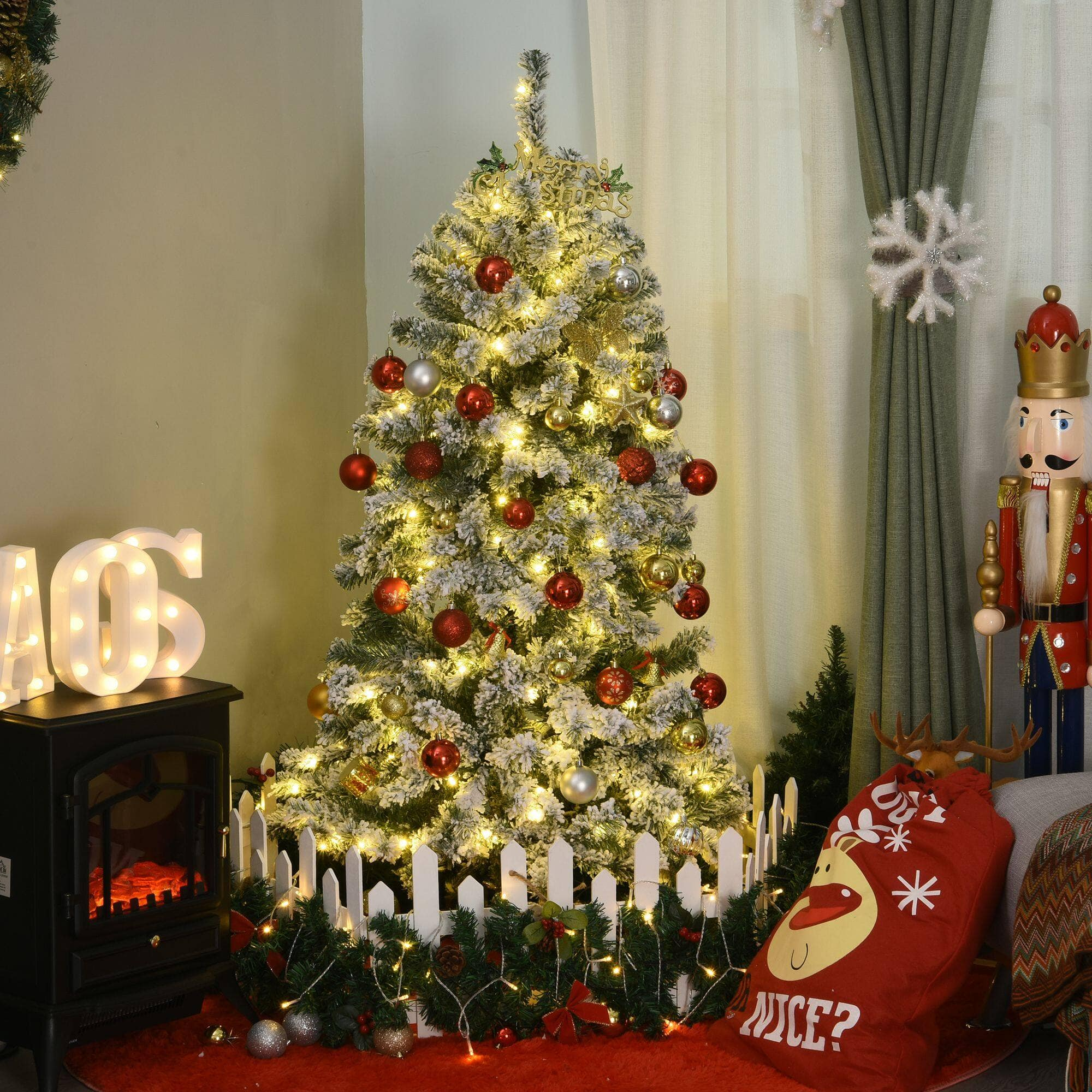 HOMCOM 4.5ft Snow Flocked Fake Christmas Tree w/ 400 Branches $39.99 + Free Shipping
