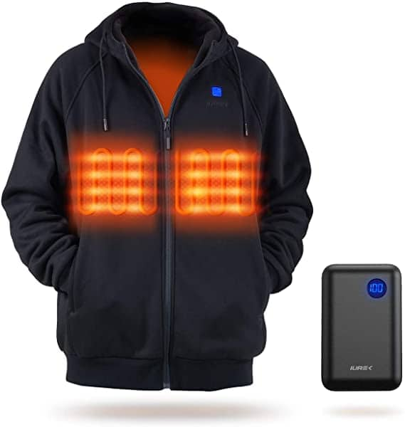 IUREK Unisex Heated Hoodie Jacket with 10000mAh Battery Pack for $48 + Free Shipping