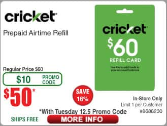 FRYs Cricket Wireless $60 refill card for $50 with Tuesday promo code (In store only)