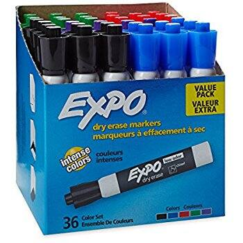 EXPO Low-Odor Dry Erase Markers, Chisel Tip, Assorted Colors, 36-Count for $12.60