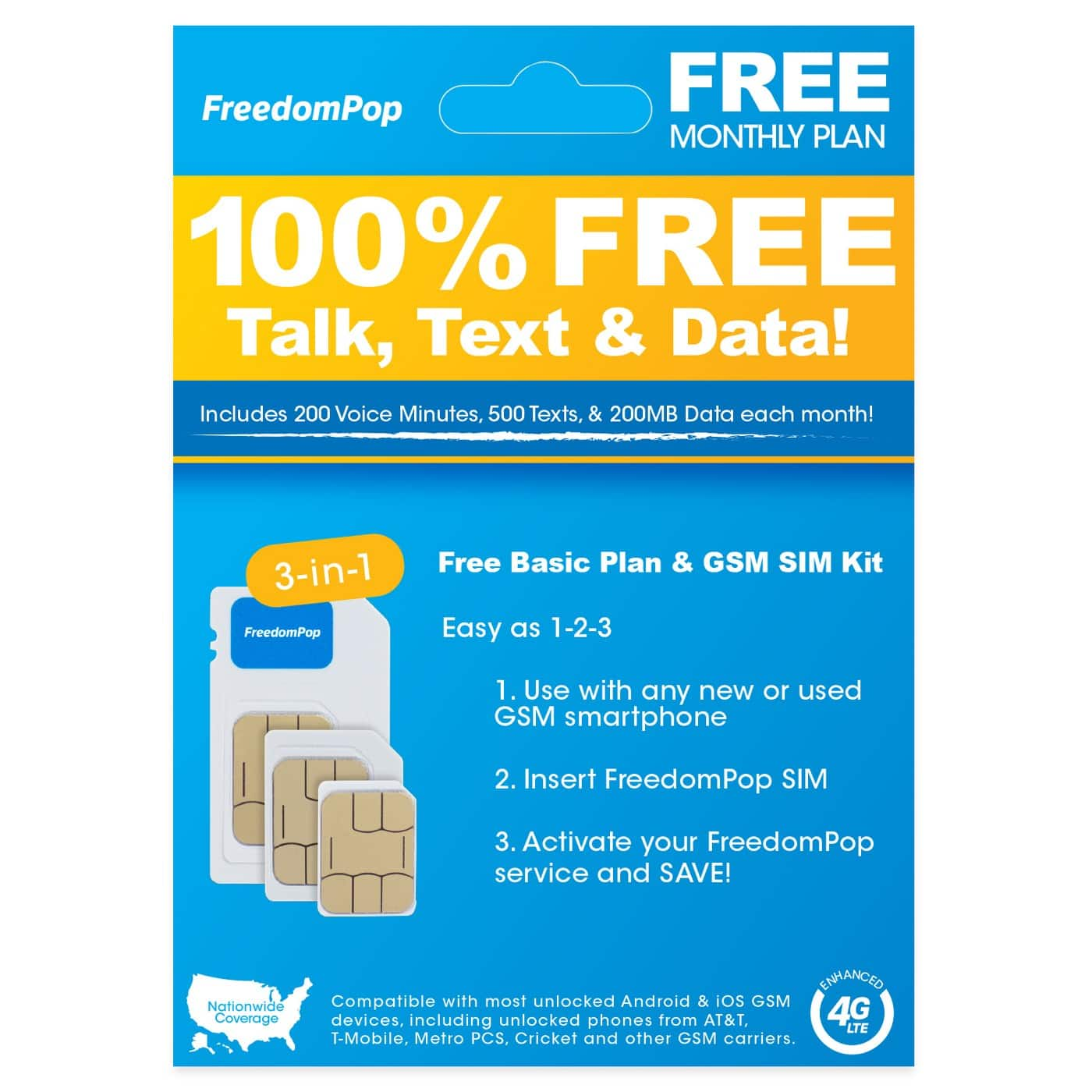 $0.99 or $0.94 FreedomPop Nationwide 4G LTE 3-in-1 Basic Free SIM Card Kit