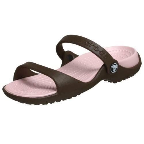Crocs Women's Cleo Croslite Sandals [Chocolate/Cotton Candy) $15