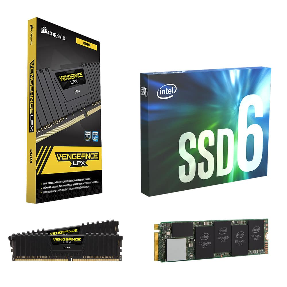 512GB Intel 660P M 2 QLC NVMe SSD + 16GB Corsair Vengeance DDR4 3000