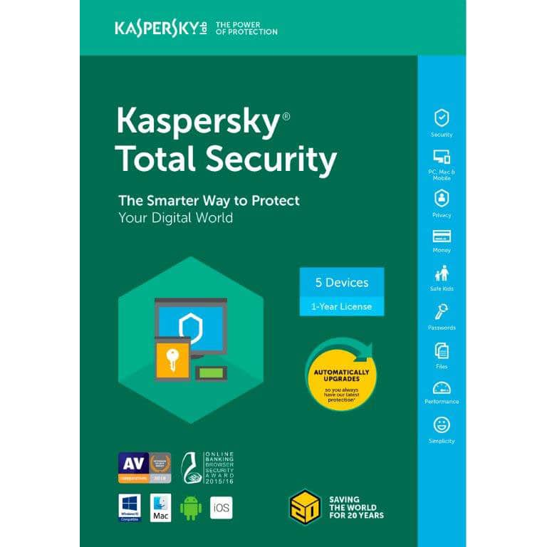 Kaspersky Total Security 2018 - 5 Devices / 1 Year: Free (shipped) after $65 MIR and $10 promo code (YMMV)