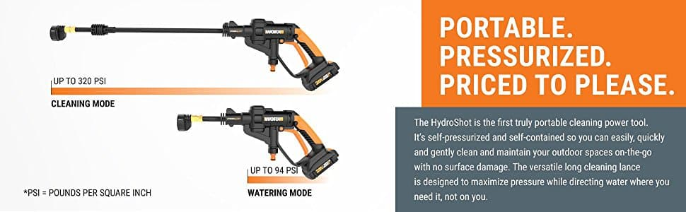 WORX Cordless Hydroshot Portable Power Cleaner, 20V Li-ion (2.0Ah), 320psi, 20V Power Share Platform with Cleaning Accessories WG629.1 - $128.79