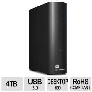 WD Element 4TB External Hard Drive USB 3.0 - $84.99 AR and using PayPal checkout (Retail $150)