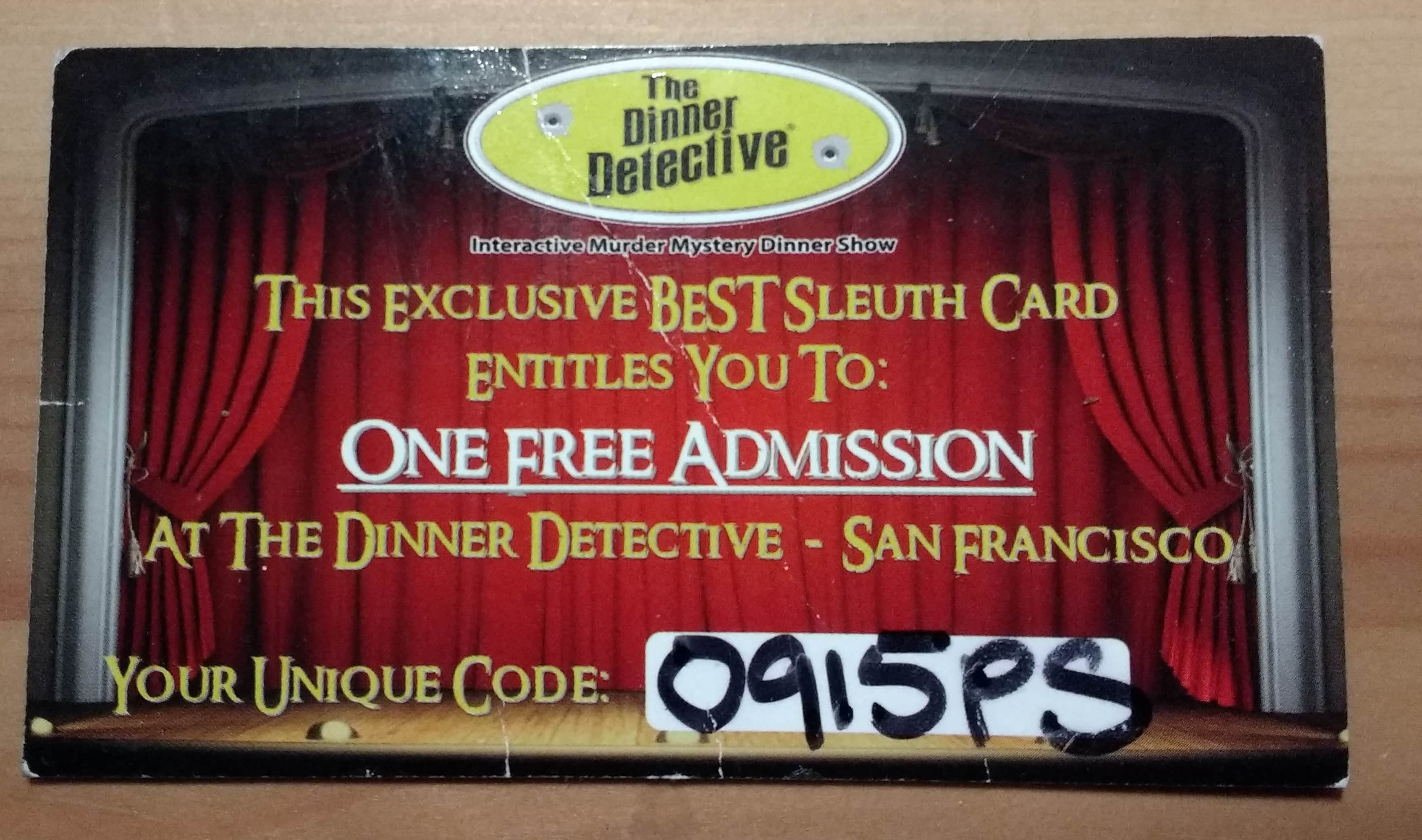 One (1) Free Admission at the Dinner Detective - San Francisco $90