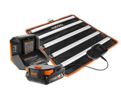 Ridgid Cordless LED Mat Light Kit, 2.0 Ah Battery and Charger  $79