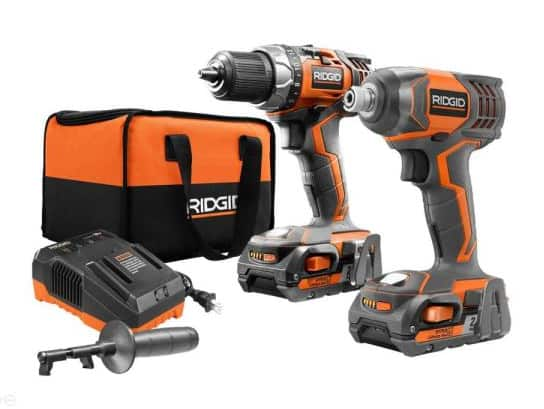 Ridgid Cordless Drill/Driver and Impact Driver with (2) 2.0 Ah Batteries, Charger, and Bag - $139