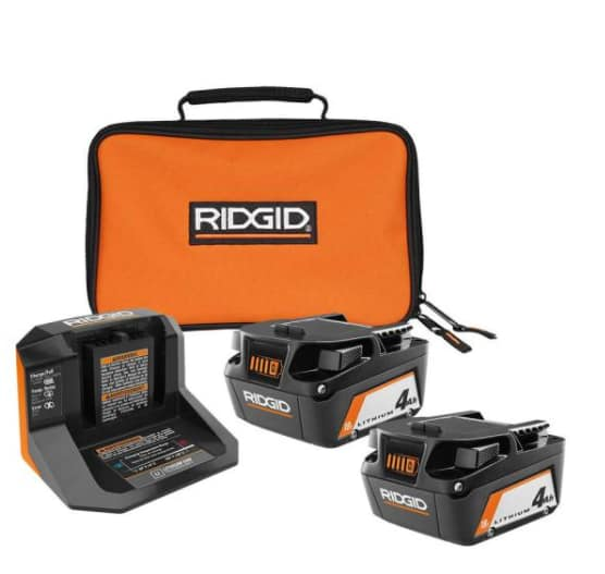 2-Count Ridgid 18V Lithium-Ion 4.0 Ah Batteries w/ Charger & Bag $99