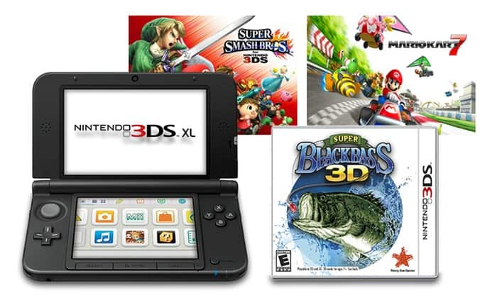 Nintendo 3DS XL Bundle with Mario Kart 7, Super Black Bass 3D, and Super Smash Bros - $179