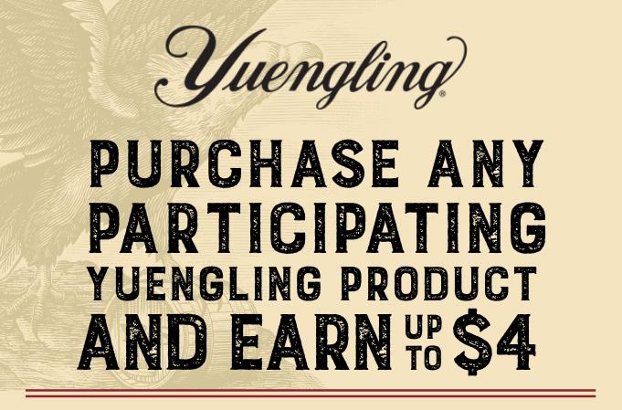 $4 Yuengling rebate paid via paypal or venmo
