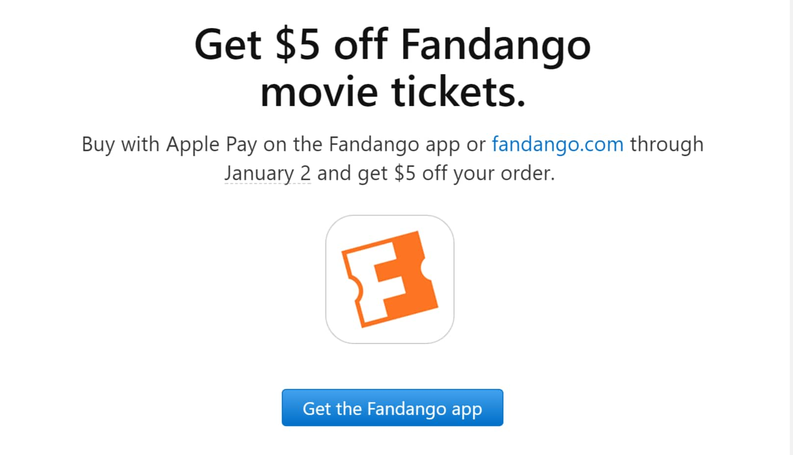 Fandango Movie Tickets: Any Movie Tickets $5 Off w/ Apple Pay Checkout