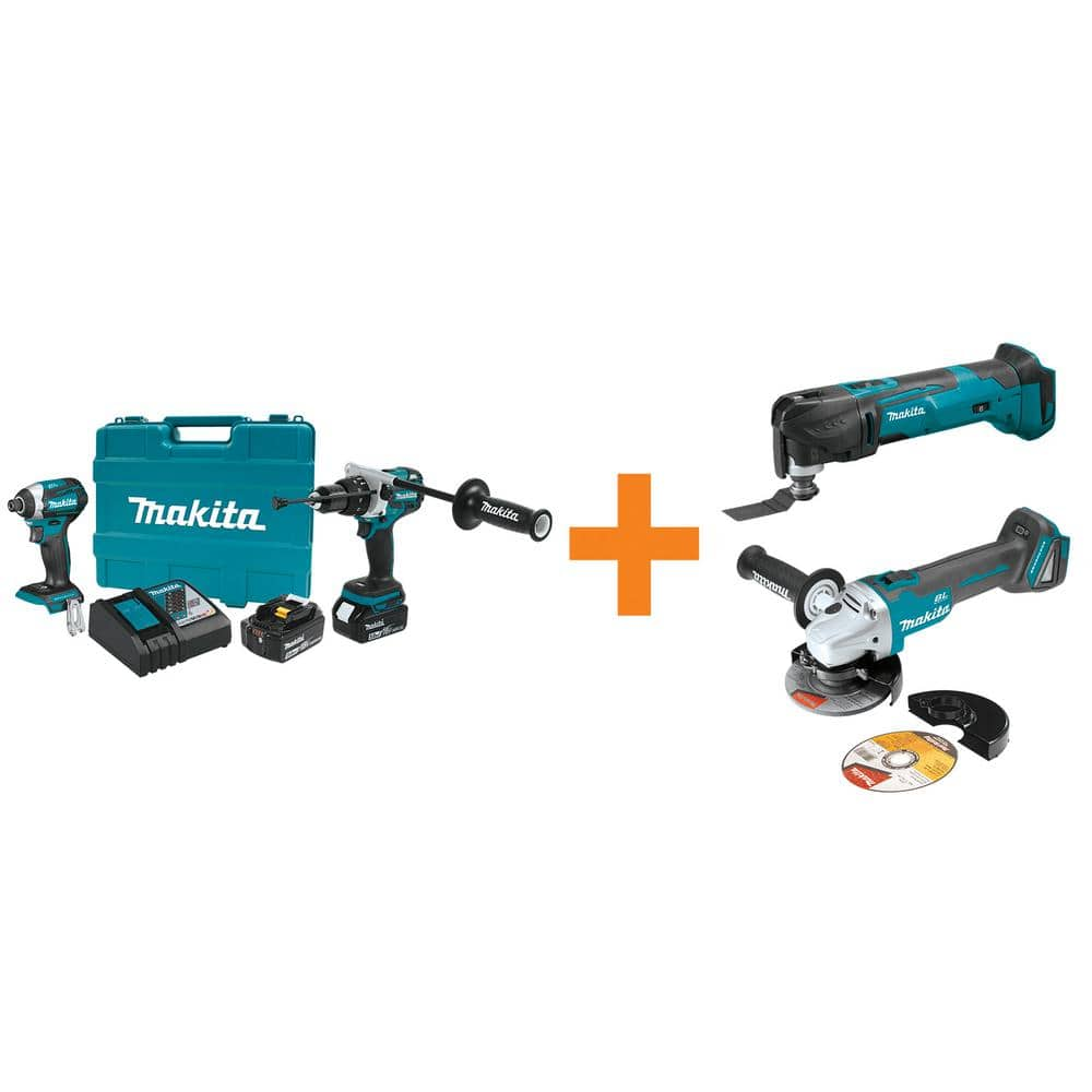 Makita XT268T Hammer Drill/Driver + Impact Driver Combo with Two 5Ah Batteries PLUS Two Free Tools $374